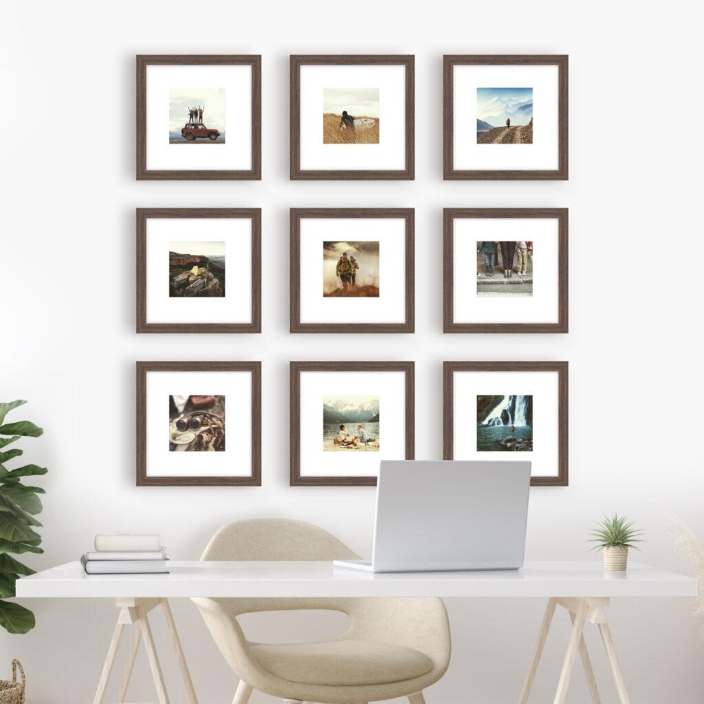 gallery wall layout template photo walls framed art dark wood frame