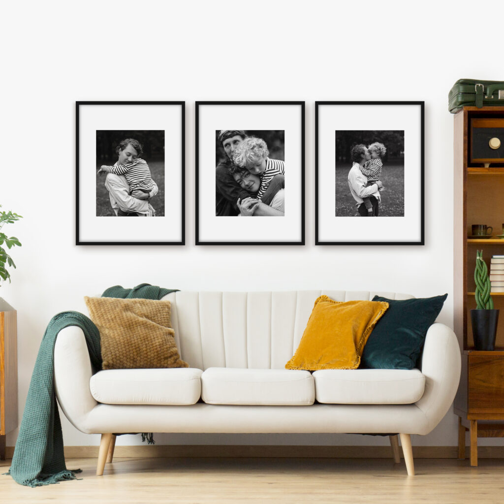 interior home styling three photo frame picture frames Triptych gallery wall
