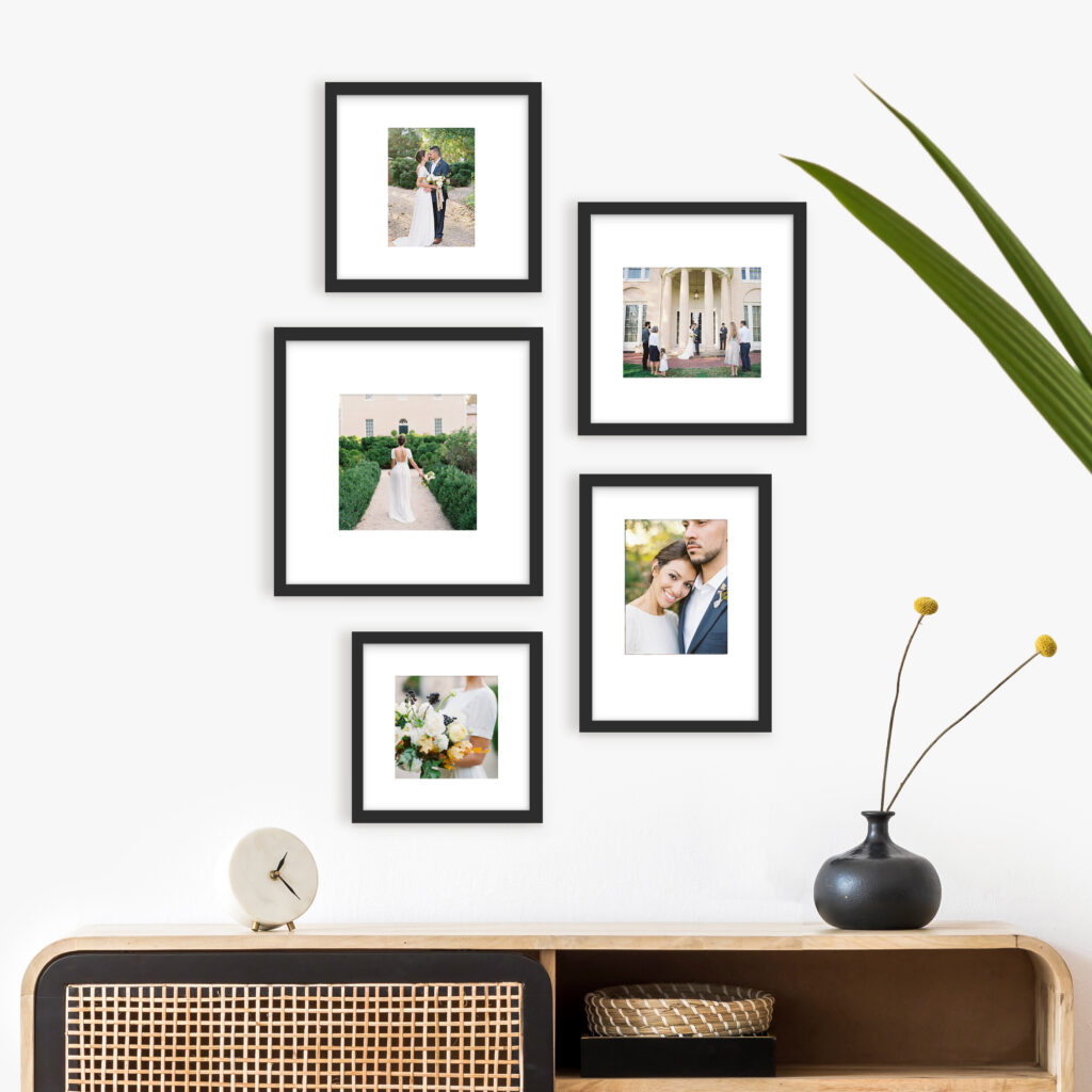 Wedding gallery wall picture walls photo frames